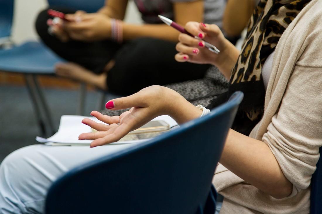 woman's hands gesturing