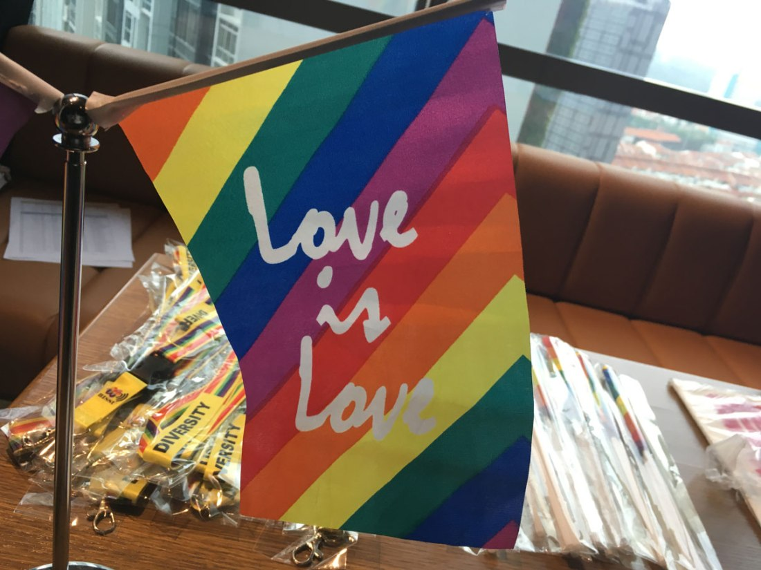 """Pride flag with words """"Love is love"""""""